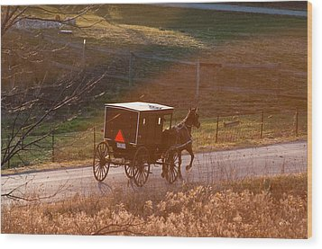 Amish Buggy Afternoon Sun Wood Print