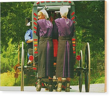 Amish Girls On Roller Blades Wood Print by Jeanette Oberholtzer
