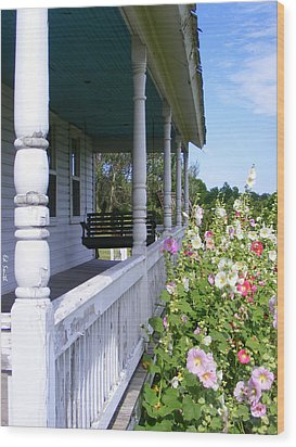 Amish Porch Wood Print by Ed Smith