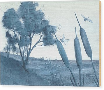 Among The Cattails... No. Four Wood Print by Robert Meszaros