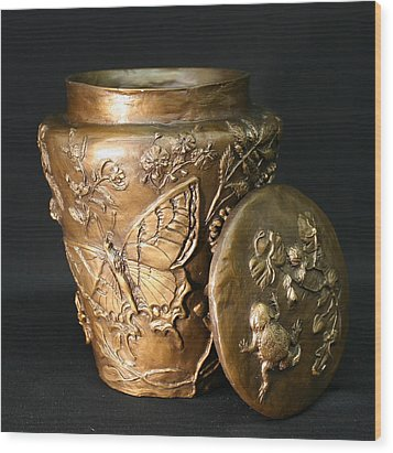 Wood Print featuring the sculpture Among The Sagebrush Vase With Lid by Dawn Senior-Trask