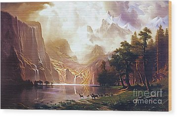 Wood Print featuring the painting Among The Sierra Nevada California By Albert Bierstadt 20170409 by Wingsdomain Art and Photography