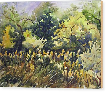 Amongst The Goldenrods Wood Print by Chito Gonzaga