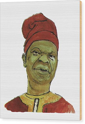 Amos Tutuola Wood Print by Emmanuel Baliyanga