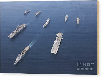 Amphibious Task Force-west In Formation Wood Print by Stocktrek Images