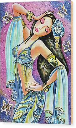 Wood Print featuring the painting Amrita by Eva Campbell