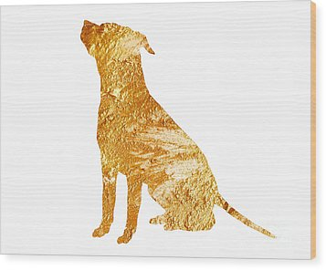 Amstaff Gold Silhouette Large Poster Wood Print by Joanna Szmerdt