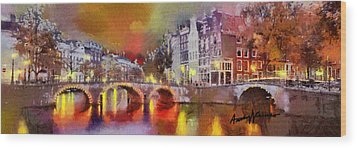 Amsterdam At Night Wood Print by Anthony Caruso
