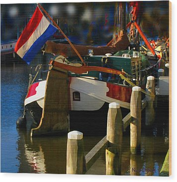 Amsterdam Canal Barge Wood Print by Nick Diemel