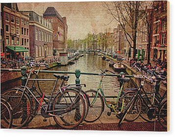 Amsterdam Canal Wood Print by Jill Smith