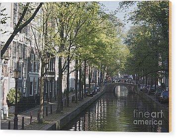 Wood Print featuring the photograph Amsterdam Canal by Wilko Van de Kamp