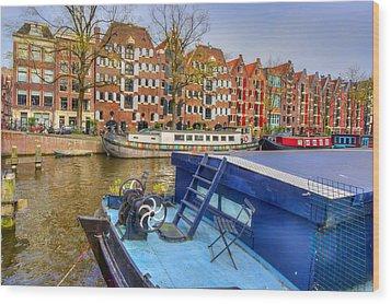 Amsterdam Houseboats Wood Print