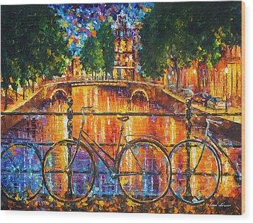 Amsterdam - The Bridge Of Bicycles  Wood Print by Leonid Afremov