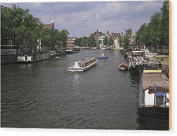 Amsterdam Water Scene Wood Print by Sally Weigand