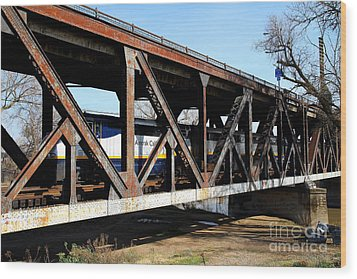 Amtrak California Crossing The Old Sacramento Southern Pacific Train Bridge . 7d11410 Wood Print by Wingsdomain Art and Photography