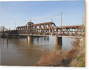 Amtrak California Crossing The Old Sacramento Southern Pacific Train Bridge . 7d11674 Wood Print by Wingsdomain Art and Photography