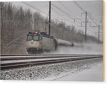 Amtrak In Snowstorm Wood Print