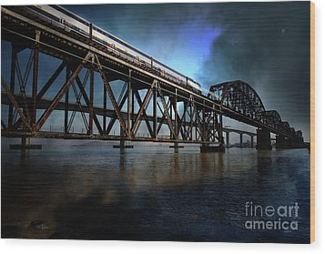 Amtrak Midnight Express 5d18829 Wood Print by Wingsdomain Art and Photography