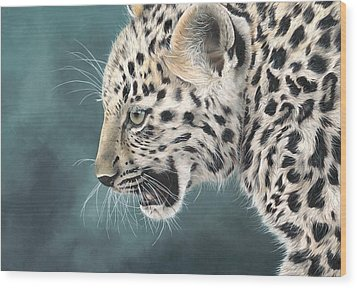 Amur Leopard Cub Wood Print by Clive Meredith