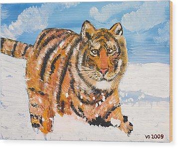 Amur Tiger Wood Print by Valerie Ornstein