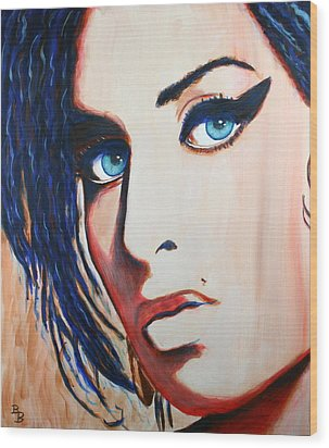 Wood Print featuring the painting Amy Winehouse Back To Blue by Bob Baker