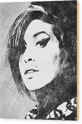 Amy Winehouse Bw Portrait Wood Print by Mihaela Pater