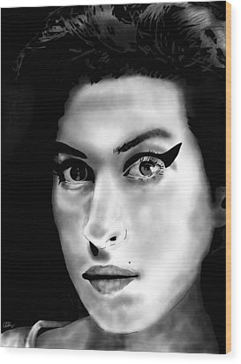 Amy Winehouse Wood Print by Penny Ovenden