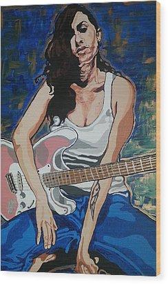 Amy Winehouse Wood Print by Rachel Natalie Rawlins