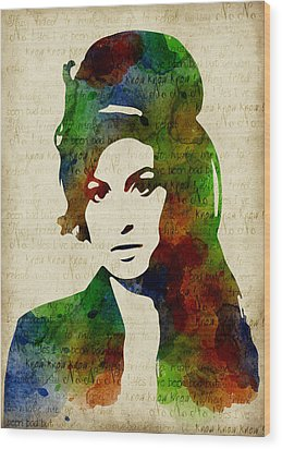 Amy Winehouse Watercolor Wood Print by Mihaela Pater