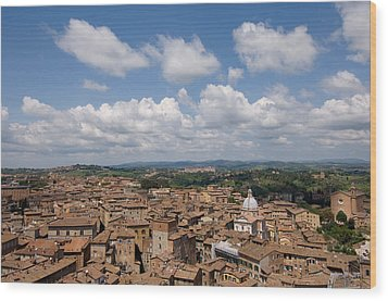 An Aerial Of Sienna, Tuscany Wood Print by Joel Sartore