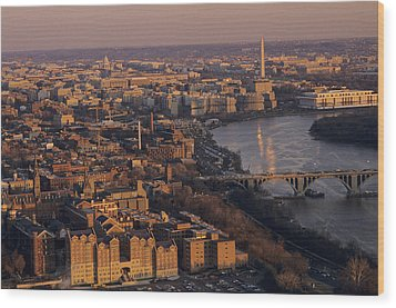An Aerial View Of D.c. And The Potomac Wood Print by Kenneth Garrett
