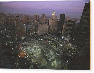 An Aerial View Of Ground Zero Wood Print by Ira Block