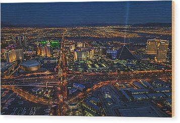 An Aerial View Of The Las Vegas Strip Wood Print by Roman Kurywczak