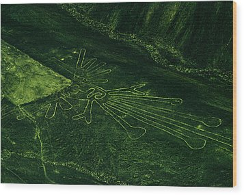 An Aerial View Of The Nazca Lines. They Wood Print by Bates Littlehales