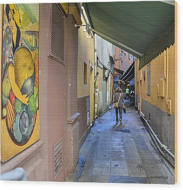 Wood Print featuring the photograph An Alley In Nice by Allen Sheffield