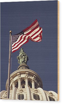 An American Flag And The Statue Wood Print by Medford Taylor
