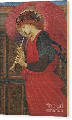 An Angel Playing A Flageolet Wood Print by Sir Edward Burne-Jones