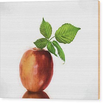 An Apple A Day Wood Print by Shirley Mangini