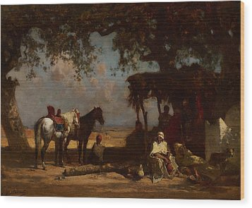 An Arab Encampment Wood Print by Gustave Guillaumet