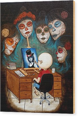 Wood Print featuring the painting An Artist Inspired by Al  Molina