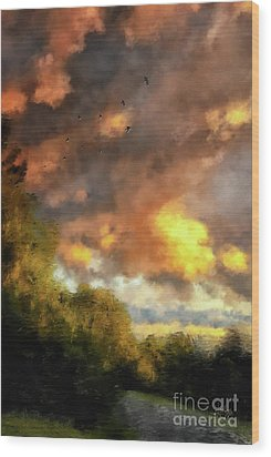 Wood Print featuring the digital art An August Sunset by Lois Bryan