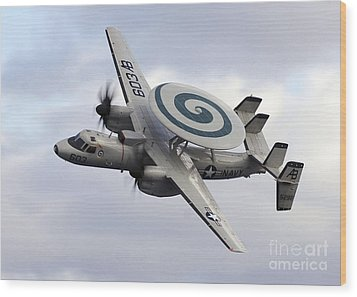An E-2c Hawkeye Performs A Fly-by Wood Print by Stocktrek Images