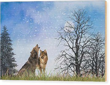 Wood Print featuring the photograph An Early Winter Howl by Diane Schuster