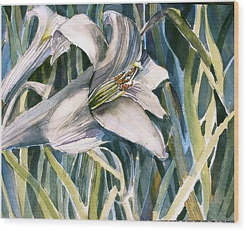 Wood Print featuring the painting An Easter Lily by Mindy Newman