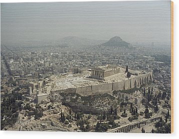 An Elevated View Of The Parthenon Wood Print by James P. Blair