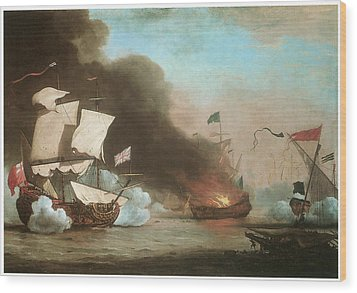 An English Ship In Action With Barbary Pirates Wood Print by Willem van de Velde the Younger