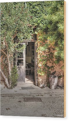 Wood Print featuring the photograph An Entrance In Santorini by Tom Prendergast