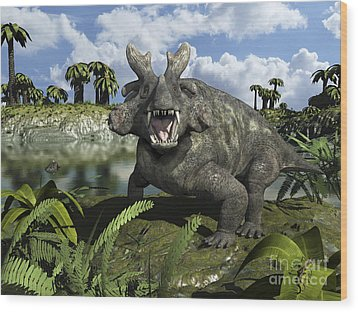 An Estemmenosuchus Mirabilis Stands Wood Print by Walter Myers