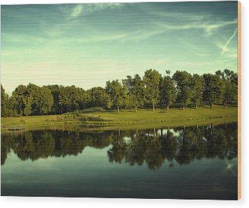 An Evening At Broemmelsiek Park Wood Print by Bill Tiepelman