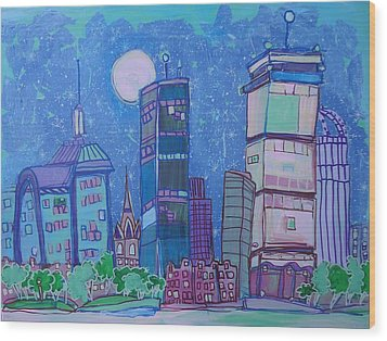 An Evening In Boston Wood Print by Jess Lawrence